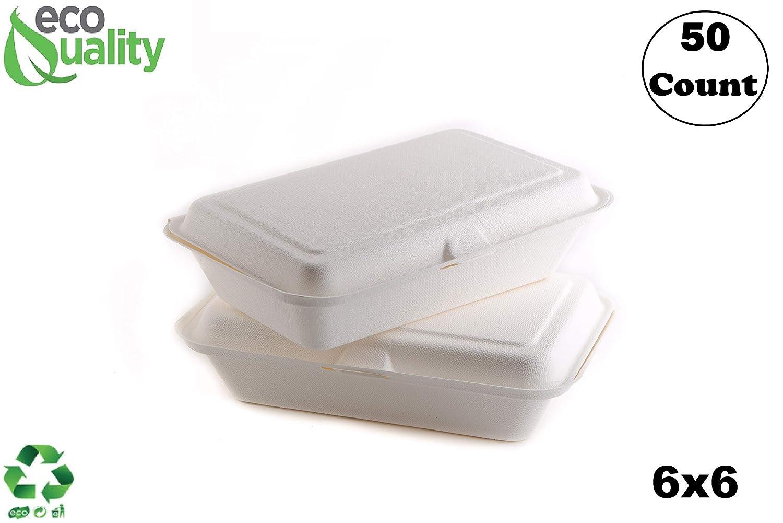 50 unidades – Biodegradable 6 x 6 recipientes de comida con tapa ...