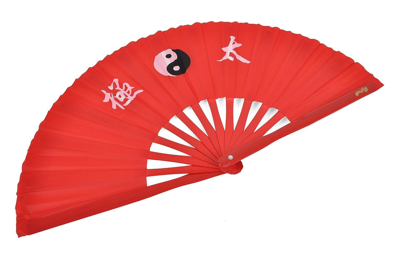 Abánico Tai Chi (Tai Ji Shan) bambú - Diestro, Rojo imprimido ShenLong
