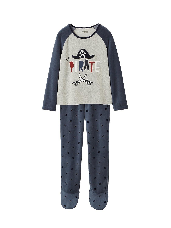 Vertbaudet Jungen SAMT-Pyjama mit Fuß