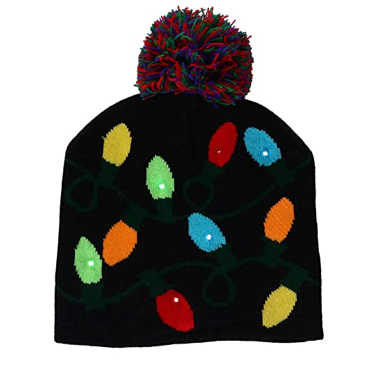 9591eb22d2e85 Supervisor Lotsa Lites! Flashing Holiday Knitted Hat Light Up Beanie (Black)