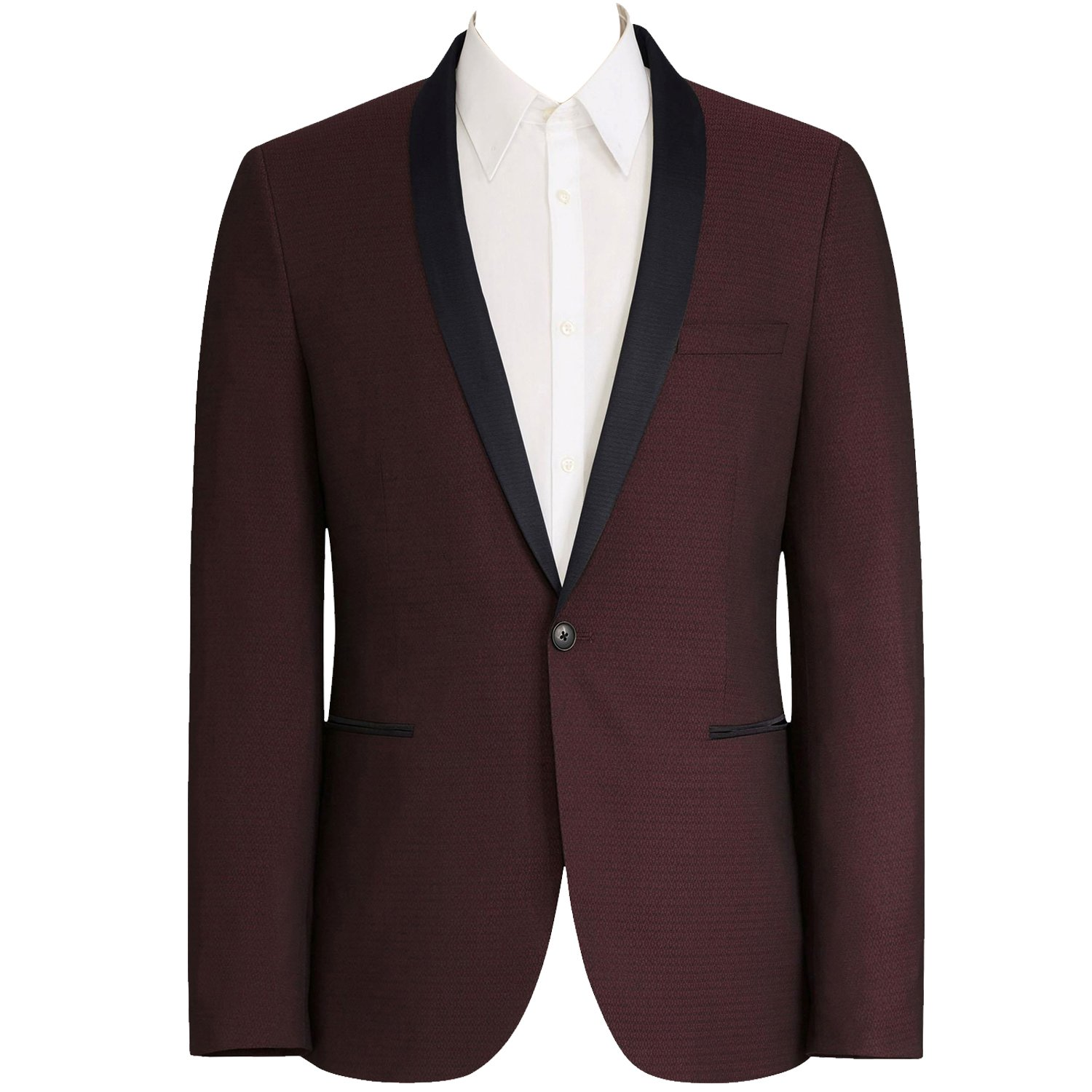 HBDesign Mens 1 Piece 1 Button Shawl Lapel Slim Fit Fashion Modern Tuxedo Wine Red HM546WineredJ