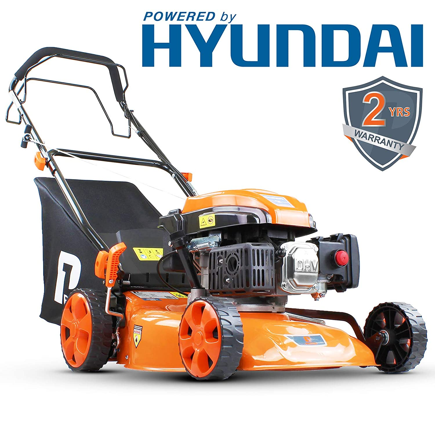 P1PE 4-Stroke Petrol Lawnmower Cutting Width 46cm / 18 inch 139CC Hyundai Powered Self Propelled P4600SP