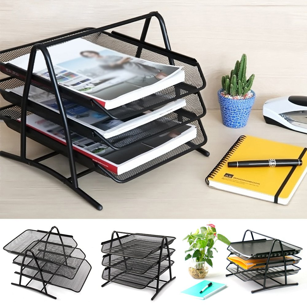 PetHot Office Filing Trays Holder Wire Mesh A4 Document Letter Paper Storage Organiser Metal 3 Tiers Black