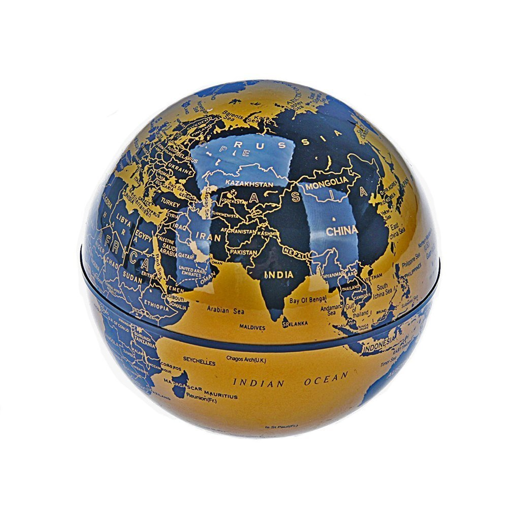 Megadream Anti Gravity Floating World Map Globe, Magnetic Levitation C Shape Base, 3 inch Rotating Planet Earth, Ball LED Light Lamp, Educational Gifts for Kids, Home Office Desk Decoration (Gold) by Megadream (Image #4)