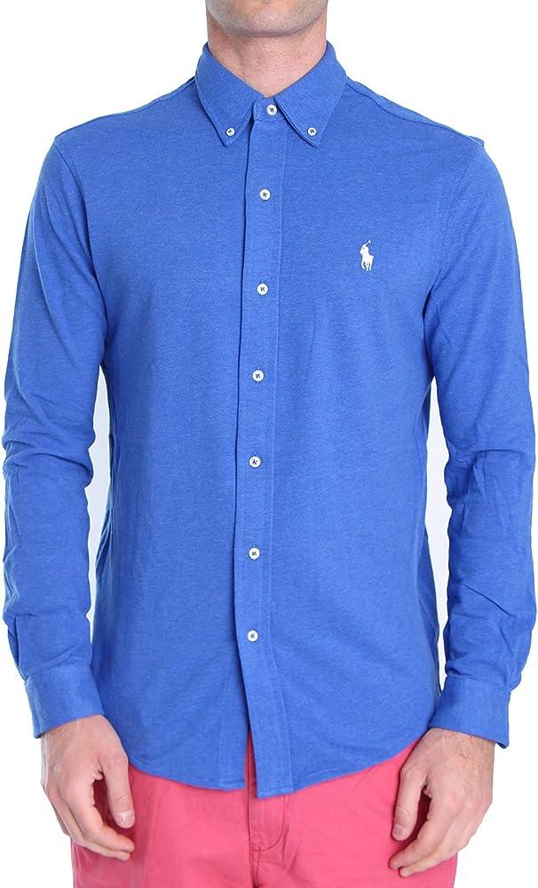 Polo Ralph Lauren Mod. 710654408 Camisa Piqué Slim Fit Hombre Azul M: Amazon.es: Ropa y accesorios