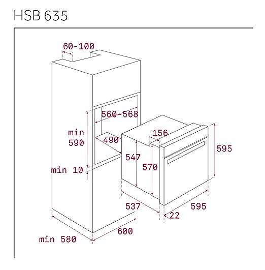 Teka HSB 635 - Horno (Medio, Horno eléctrico, 70 L, 2615 W, 70 L ...