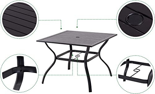 Patio Dining Table Outdoor Metal Square Table with Umbrella Hole