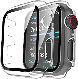 Tauri 2 Pack Hard Case Compatible for Apple Watch Series 3 2 1 38mm Built in 9H Tempered Glass Screen Protector Slim Bumper Touch Sensitive Full Protective Cover Compatible for iWatch 38mm - Clear