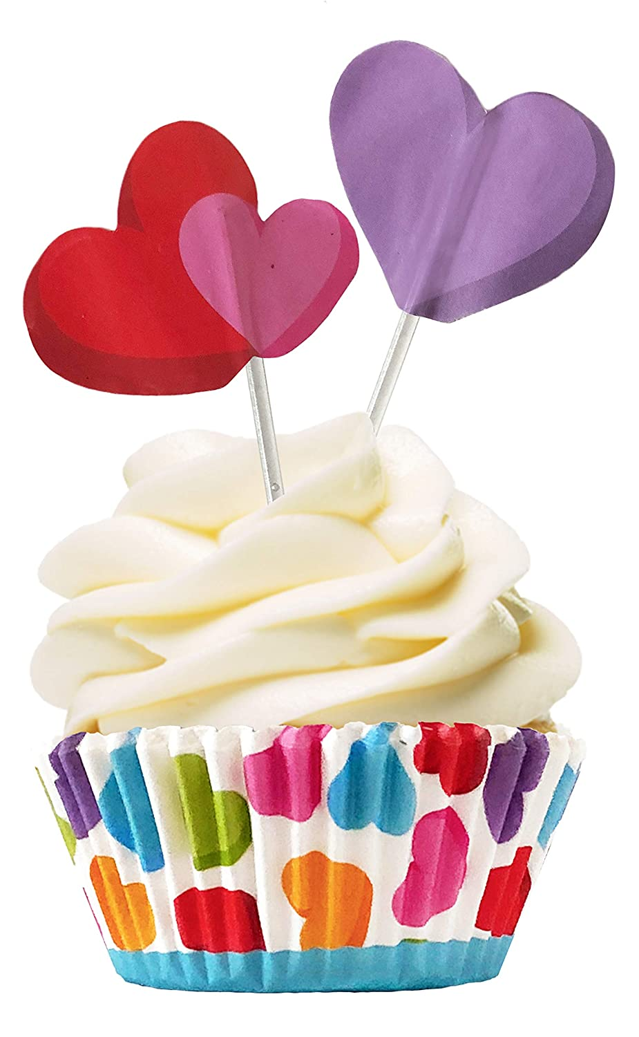 Rainbow Cupcake Baking Liners and Heart Topper Picks 24 Cups and 24 Picks Cupcake Hearts Valentines Day or Birthday Party
