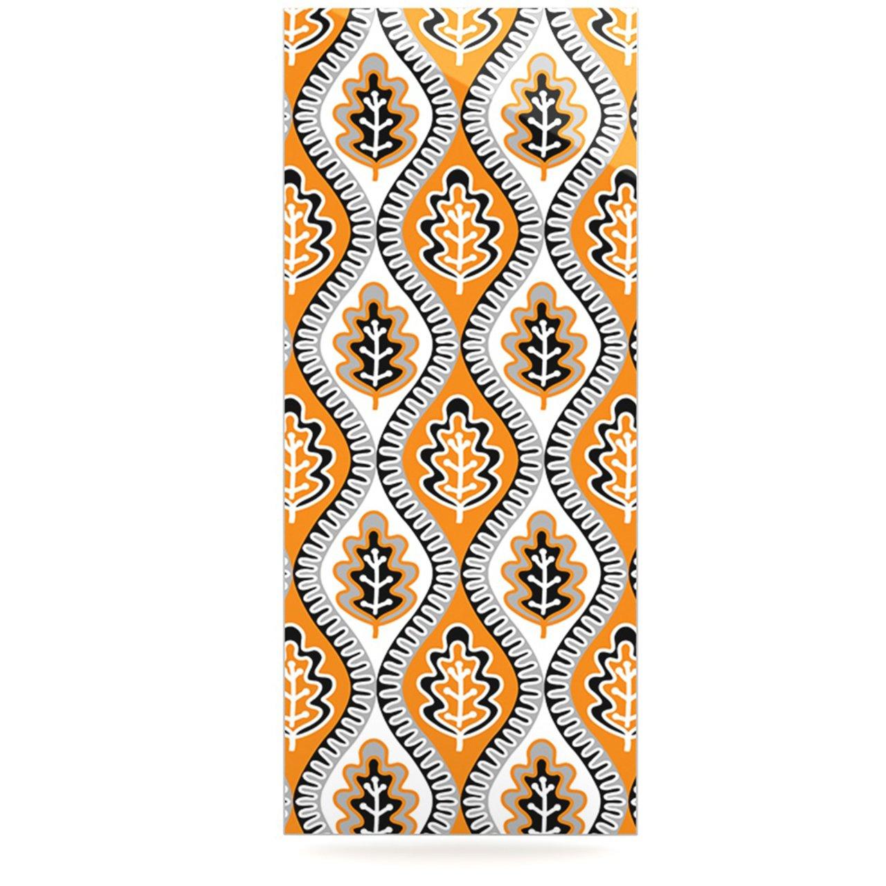 Kess InHouse Jacqueline Milton Oak Leaf Floral Orange Luxe Rectangle Panel 24 x 36