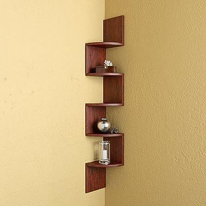 Mamta Decoration Corner Zigzag Shape Wall Shelf (Rusty Cedar ...