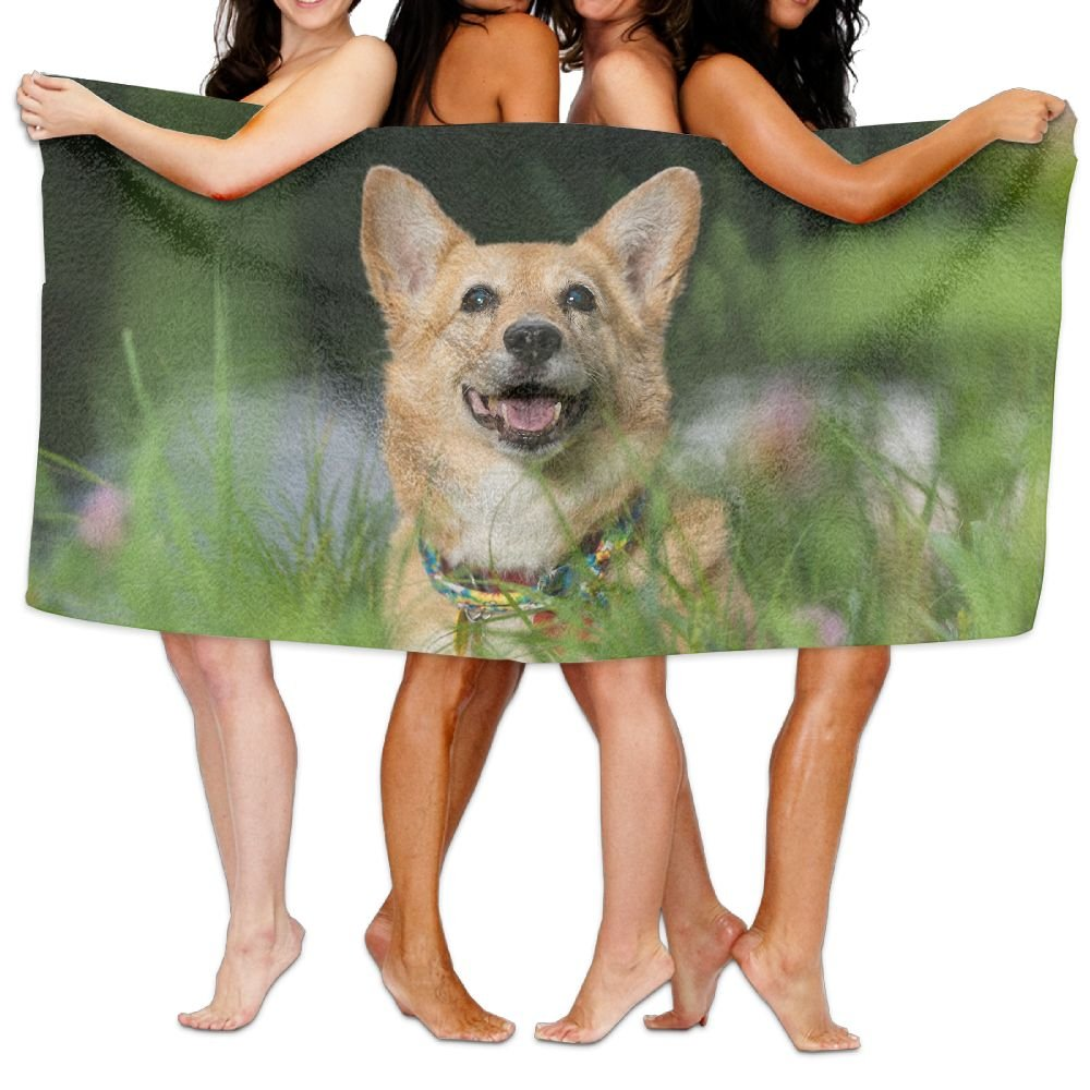 PengMin Dog Grass Animal Premium 100% Polyester Large Bath Towel, Pool And Bath Towel (80'' X 130'') Natural, Soft, Quick Drying