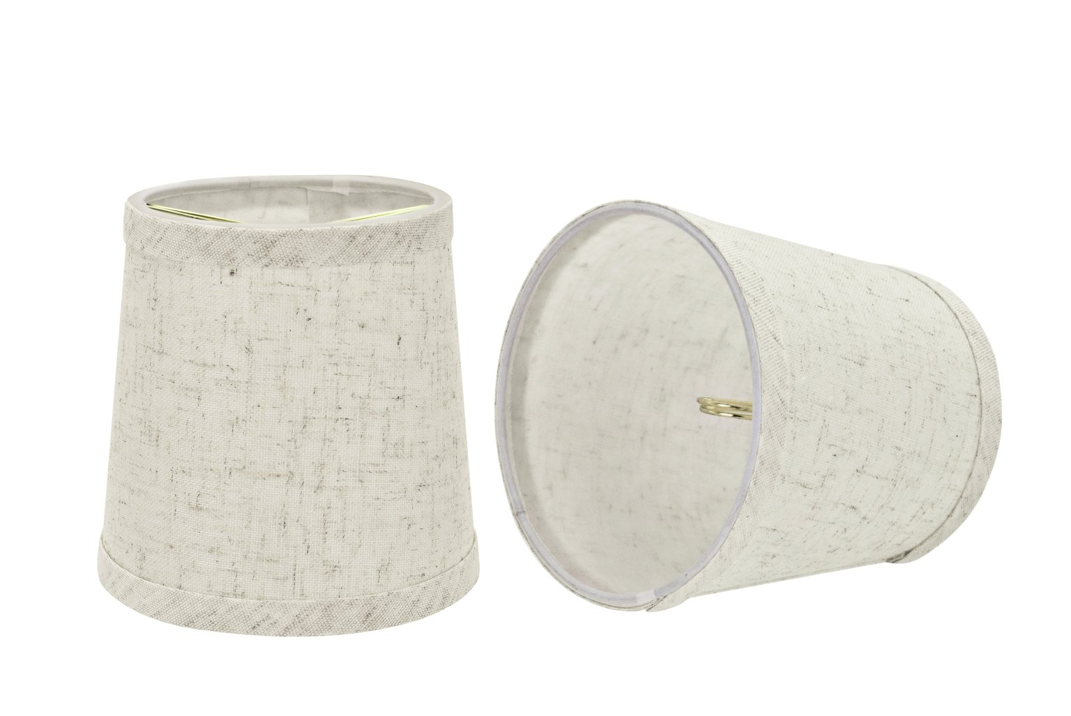 Aspen Creative 32832-2 Small Hardback Empire Shape Chandelier Clip-On Lamp Shade Set (2 Pack), Transitional Design in Flaxen, 5'' bottom width (4'' x 5'' x 5'')
