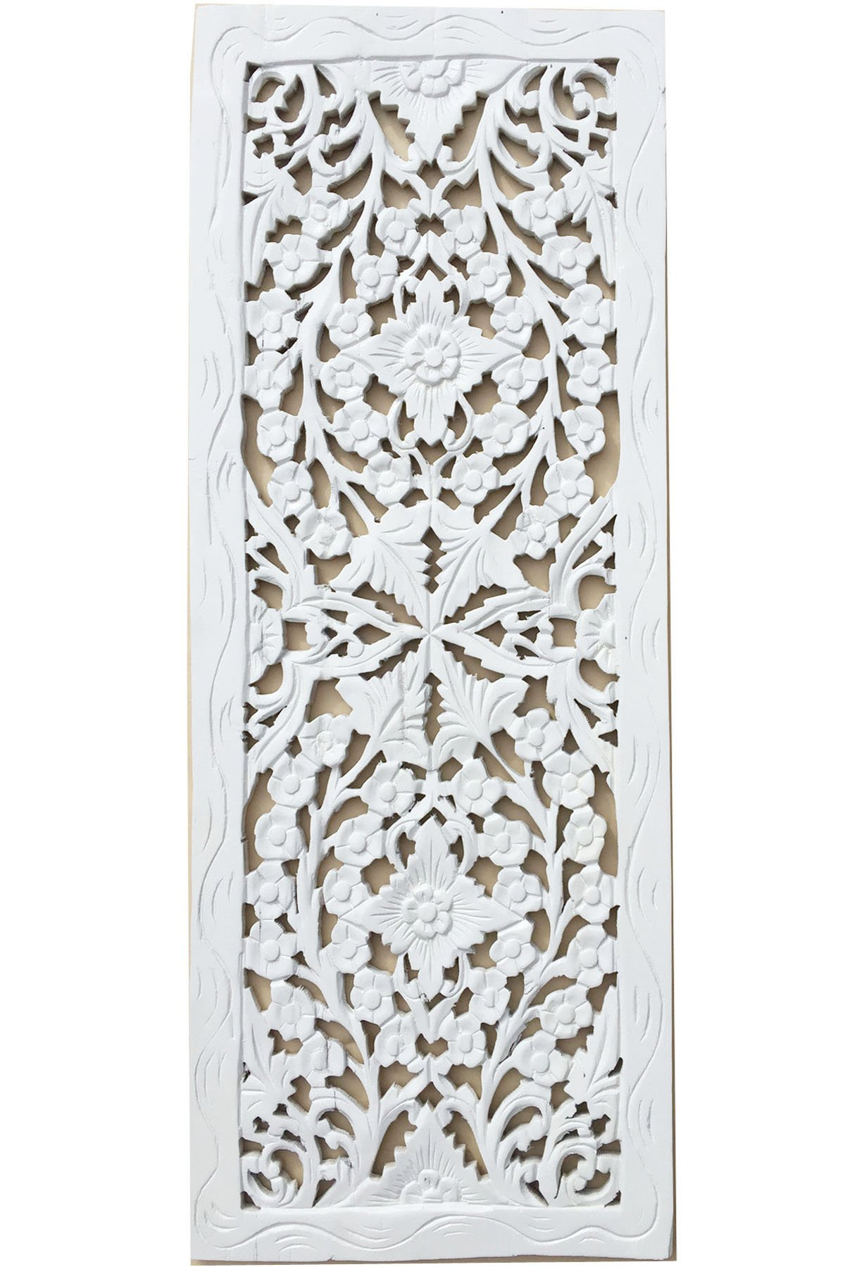 Large Carved Wood Wall Panel. Floral Wood Carved Wall Decor. Size 35.5''x13.5''x0.5'' (White)
