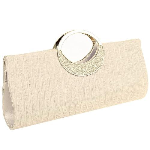 075fbb685d Fashion Road Womens Luxury Evening Wedding Party Purse Clutch Rhinestone  Satin Pleated Handbag Wallet Apricot