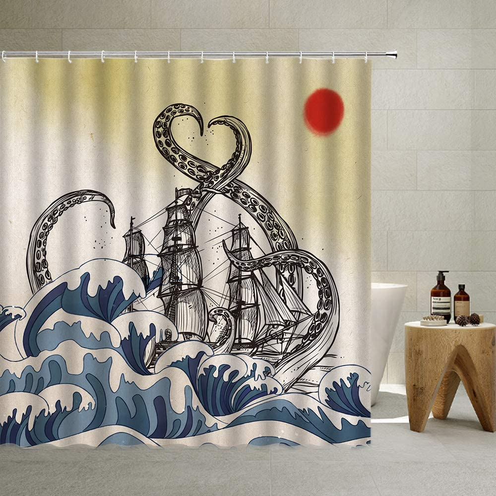 Octopus Shower Curtain Nautical Pirate Ship with Hooks, Octopus Tentacles Sailboat Wave Vintage Japanese Ocean Waves Red Sun Clouds Cloth Fabric Bathroom Decor Set with Hooks, Gray,70 X 70 Inch