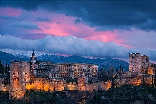 3D Diy Pintura Digital Por Números Alhambra España Moderno Cuadro Sobre Lienzo Para Pared Regalo Único De Navidad Decoración Del Hogar 30x40cm: Amazon.es: Hogar