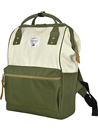 Image Unavailable. Image not available for. Color  Japan Anello Backpack  Unisex LARGE KHAKI WHITE Rucksack Waterproof Canvas ... 4f1c34c799d56
