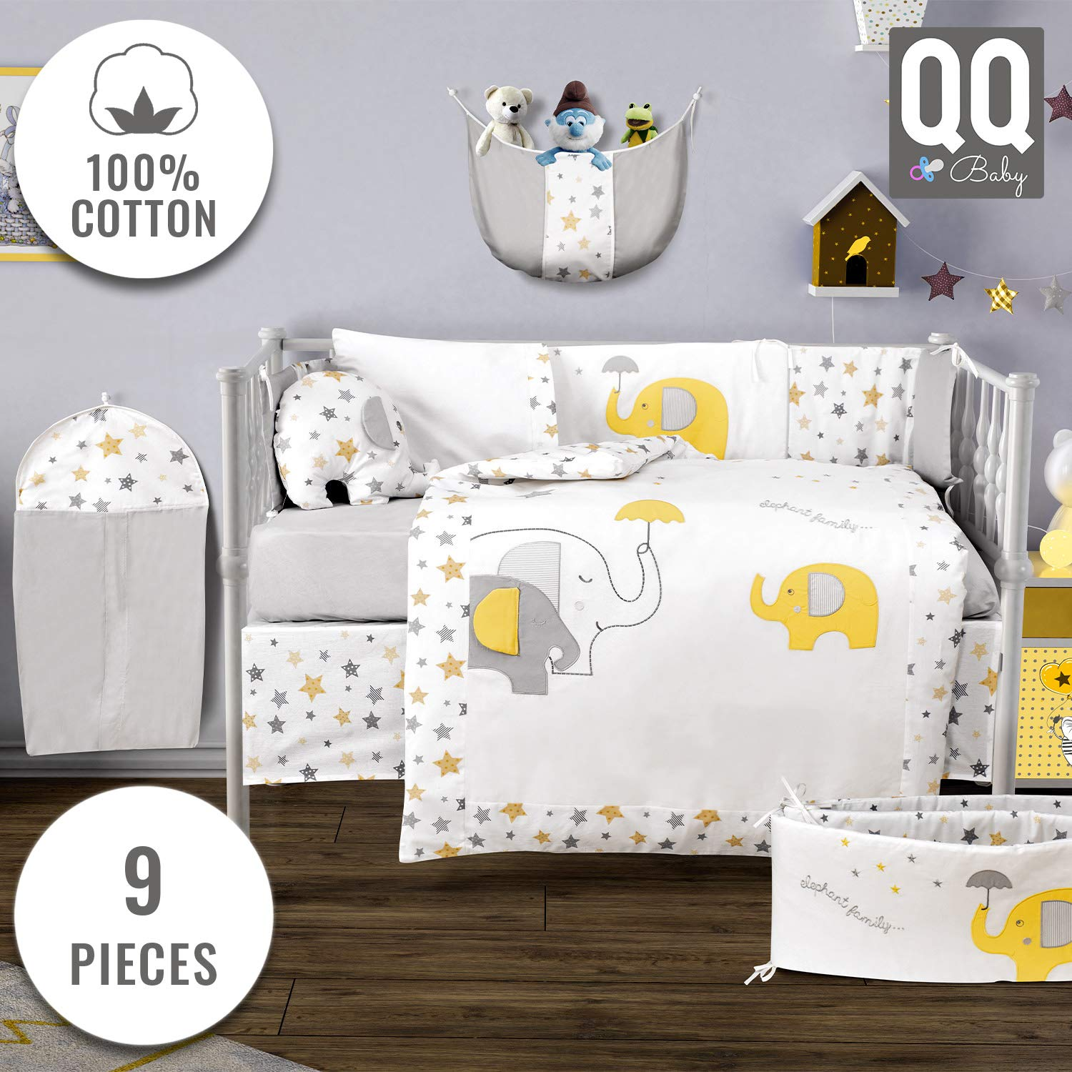 Baby Crib Bedding Set - 100% Turkish Cotton - 9 Piece Nursery Crib Bedding Sets for Boys & Girls - Elephant Design - 4 Color Variations by QQ Baby (Yellow & Gray)