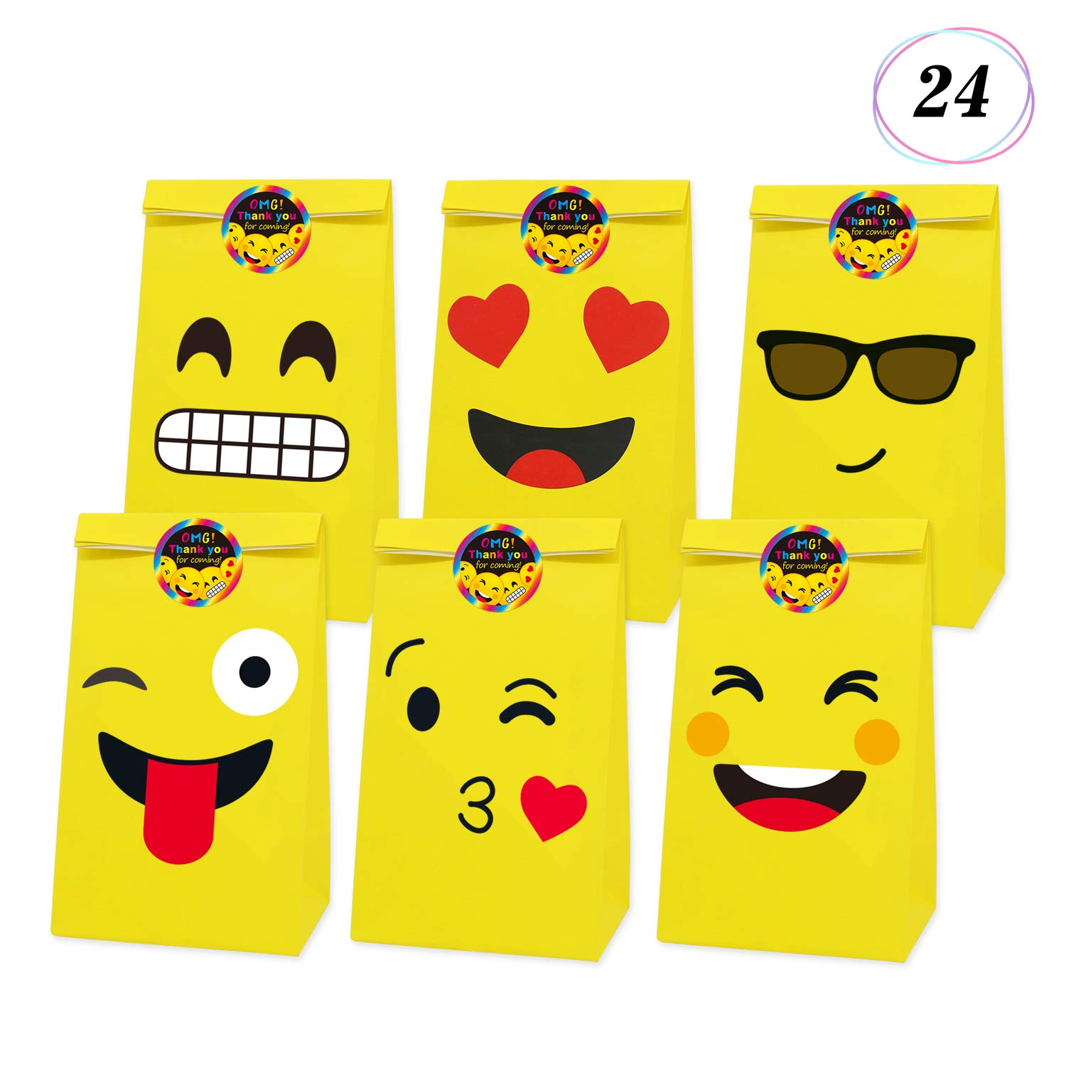 Yaaaaasss! Emoji Paper Bags Gift Bags for Kids Birthday Party Supplies Pack of 24(Bags)