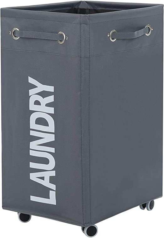 Haundry Rolling Laundry Basket with Wheels Bathroom Laundry Hamper Large Wheeled Dirty Clothes Bin