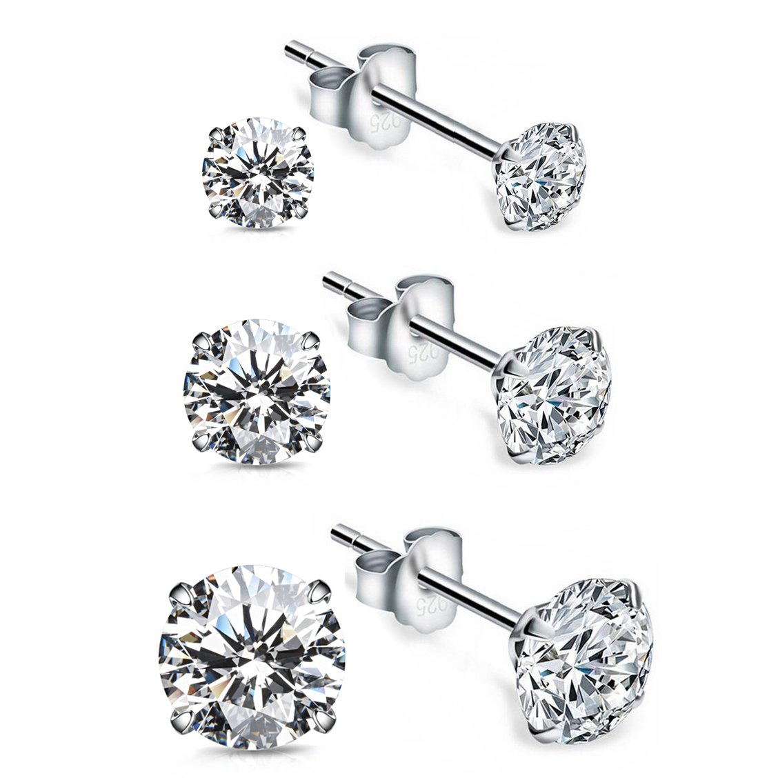 Stud Earrings With Cubic Zirconia Faux Diamond And 18K White Gold Plated Sterling Silver(3 Pairs