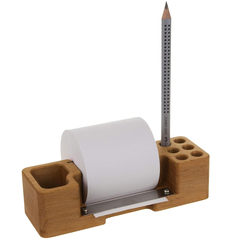 Notizrollenhalter Notizzettel Spender Stiftehalter Stiftek/öcher mit Fach f/ür Kleinkram inklusiv einem Bleistift Massivholz Buche