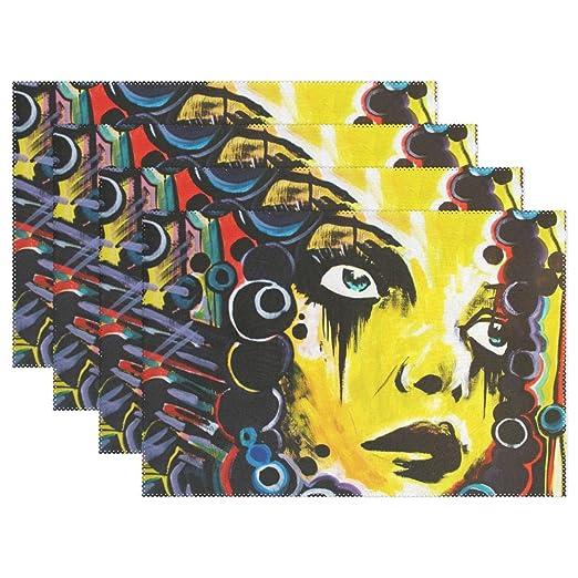 Brillante Graffiti Rostro de la chica antideslizante manteles ...