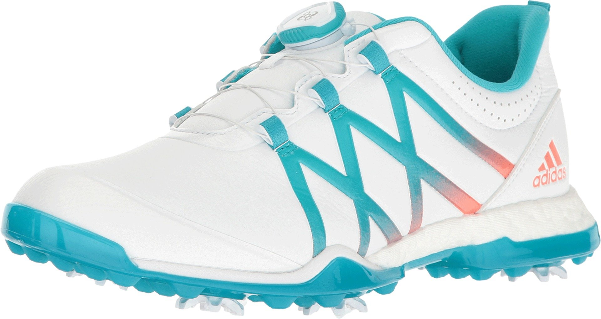 adidas Women's Adipower Boost BOA Golf Shoes, Ftwr White/Energy Blue/Easy Coral, 8 M US