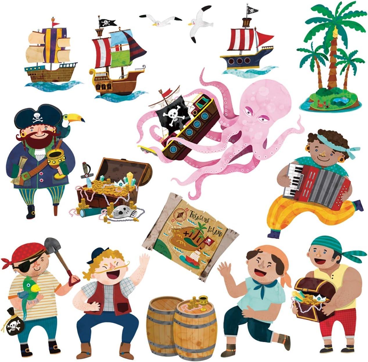 Peque/ña DECOWALL DS-8010 Piratas y la Isla del Tesoro Vinilo Pegatinas Decorativas Adhesiva Pared Dormitorio Sal/ón Guarder/ía Habitaci/ón Infantiles Ni/ños Beb/és