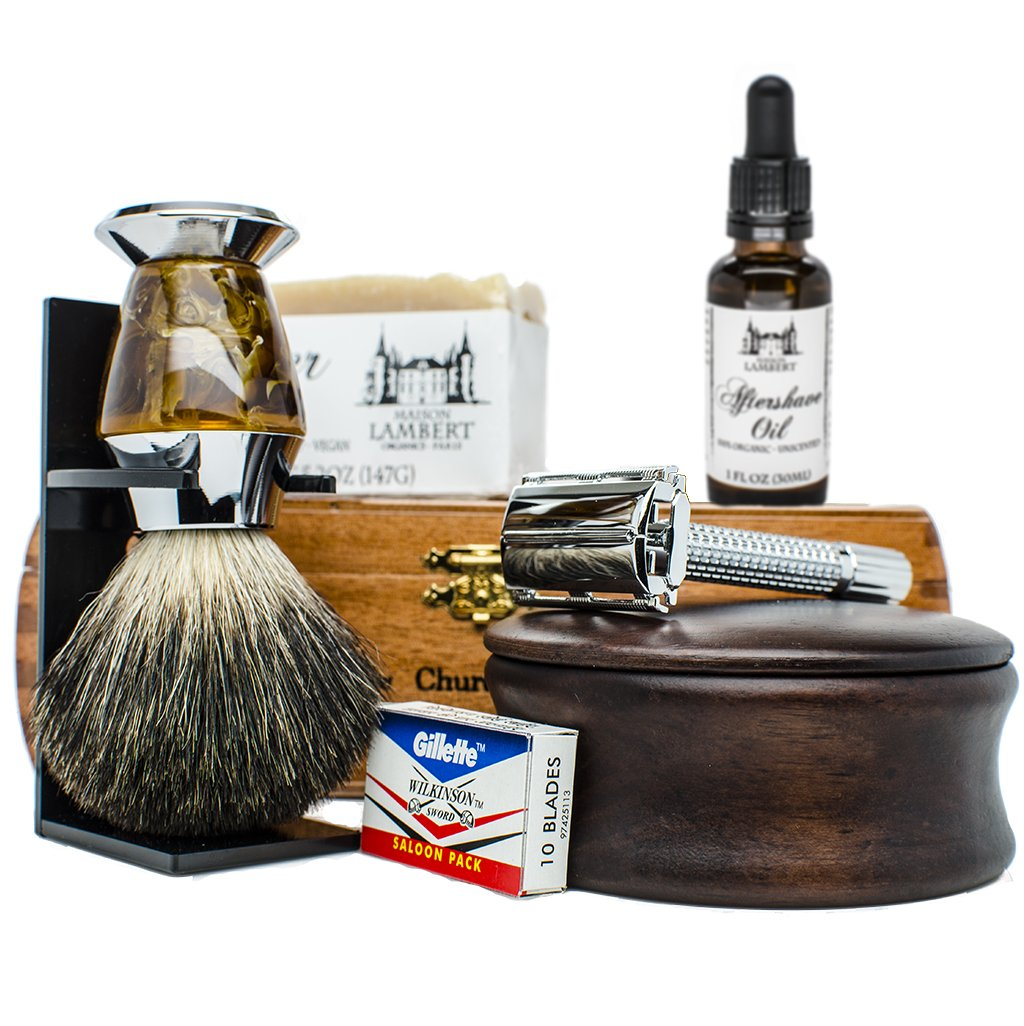 Ultimate Shaving Kit Set with Organic Shaving Soap, Aftershave oil, Wood Shaving Bowl, 100% Pure Black Badger Shaving Brush and Double Edge Safety Razor and stand. Best fathers day gift! Maison Lambert