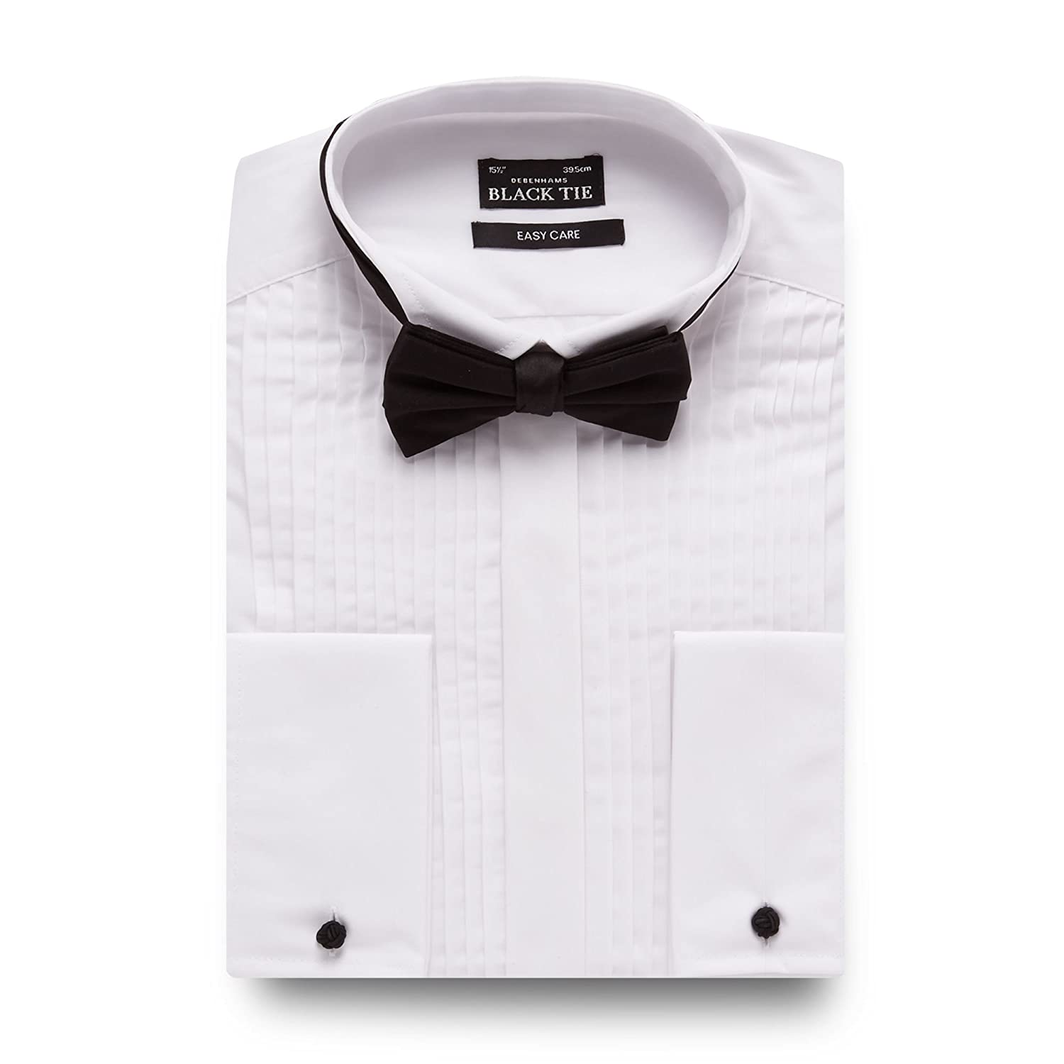 Thomas Nash Mens White Regular Fit Pleated Shirt And Bow Tie