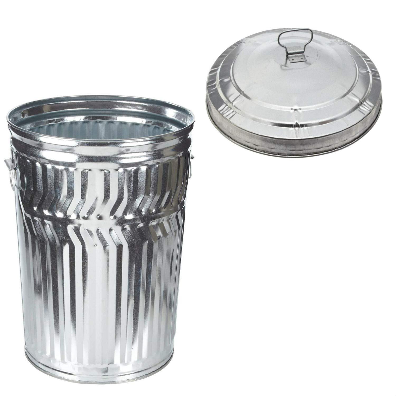 Witt Industries Galvanized Steel 32-Gallon Light Duty Trash Can with Galvanized Steel Light Duty Waste Lid, Round