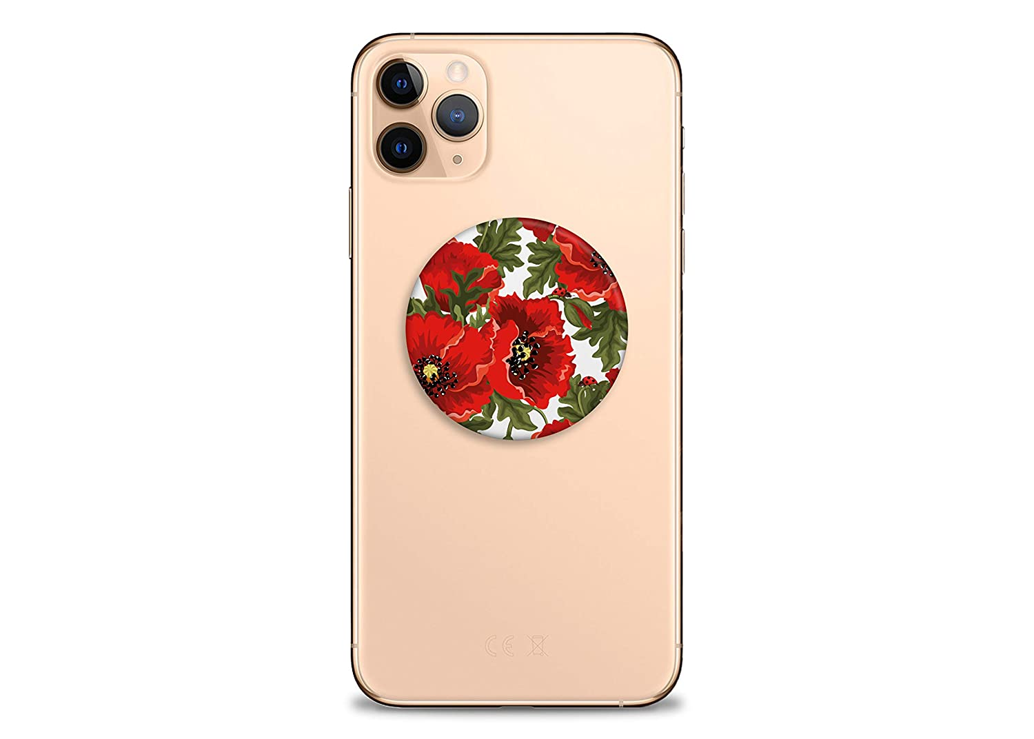 Red Poppies Swappable Top Phone Holder for Phone Finger Holder Art PopGrip Phone Holder Floral Design Finger Holder for Phone PopGrip