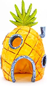 "Penn-Plax Officially Licensed Nickelodeon SpongeBob Aquarium Ornament – SpongeBob's Pineapple House - Perfect for Fish to Swim In and Around - Full Color 6"" Decoration"