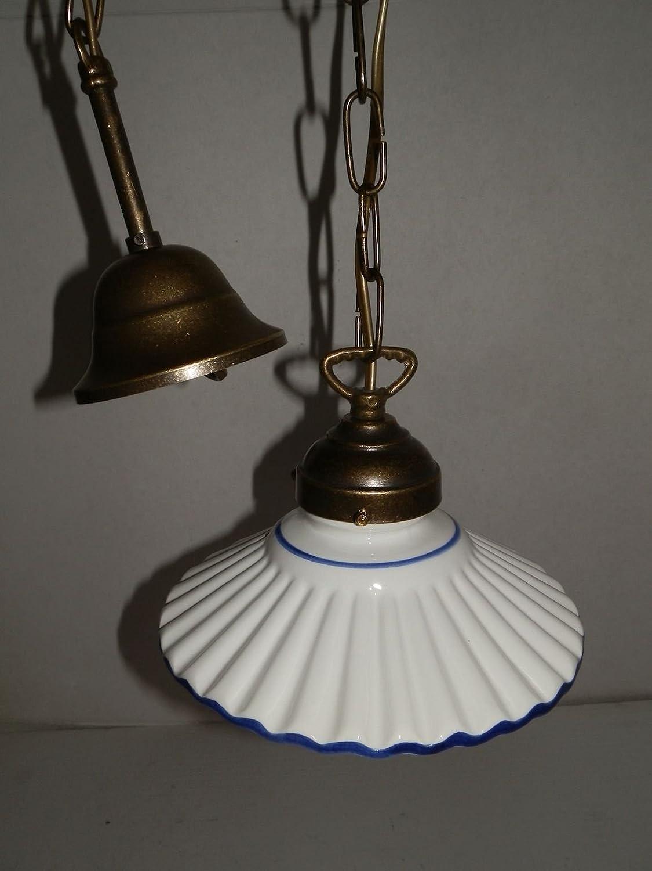 Lámpara de techo de latón con cadena y plato de cerámica 20 cm ...