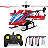 JJRC 4CH RC Helicopter with Remote Control, JX02 Fly Sideway Helicopter Altitude Hold with 3 Batteries in 18 Minutes, One Key Take Off / Landing, Emergency Stop RC Toy Helicopter Gift for Kids (Red)