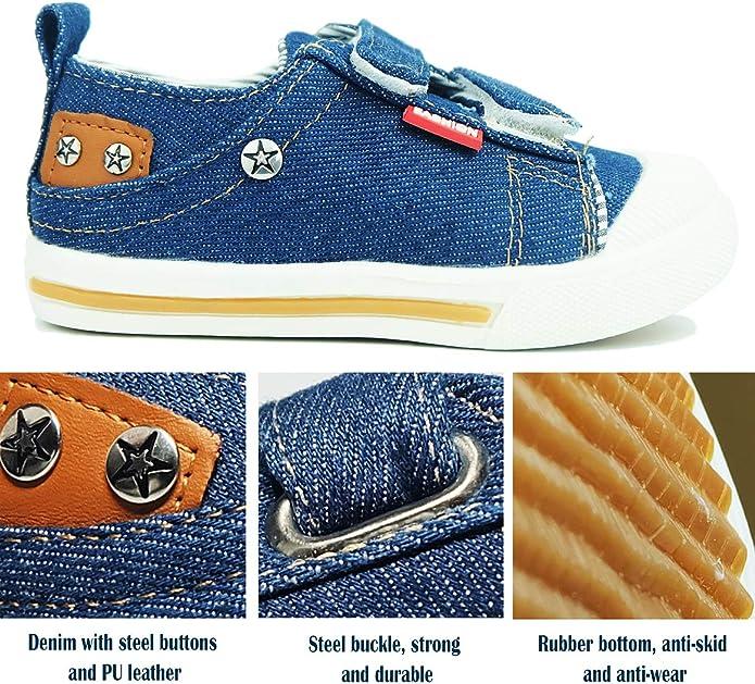 MERFUNTO Boys Hook and Loop Sneakers Toddler//Little Kids Dual Denim Canvas Shoes Baby Footwear