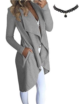 M-Queen Mujer Cardigan Abrigo Manga Larga de Dobladillo Irregular Sudaderas Parka Outwear Jacket Slim Gris L: Amazon.es: Ropa y accesorios