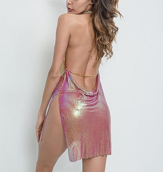 6da57fef Khaleesi Women's Metal Chain Sleeveless 2 Slits Backless Evening Club  Christmas Mini Dress at Amazon Women's Clothing store:
