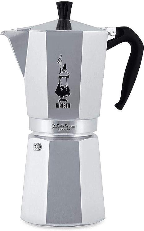 Bialetti Moka Express Cafetera Italiana Espresso, 18 Tazas, Aluminio, Plateado: Amazon.es: Hogar