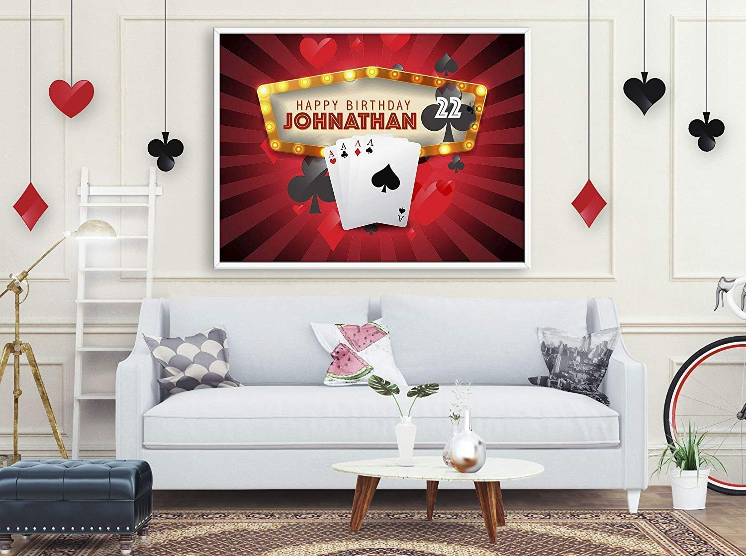 Large Ace Casino Playing Cards Birthday banner Size 24x18 Poker cards poster Poker Banner Gambler Banner Rummy poster 36x24 Poker Party Decorations Gamble Birthday Banner 48x24 and 48x36