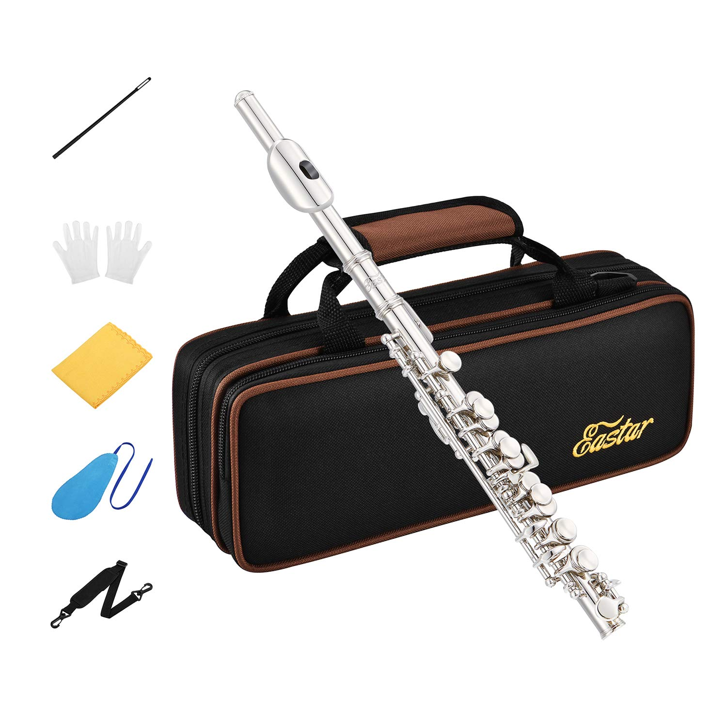 Eastar EPC-2S Silver Plated Piccolo Key of C 2-Piece With Hard Case Fingering Chart, Cleaning Rod, Cloth, Swab and Gloves by Eastar