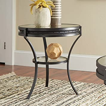 outlet store sale 87bf0 4ce5b Coaster 705217-CO 1 Shelf Round Glass Top End Table, Sandy Black