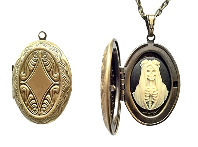 La Santisima Muerte Cameo Locket Charm - Protector of Women and Those in Need!