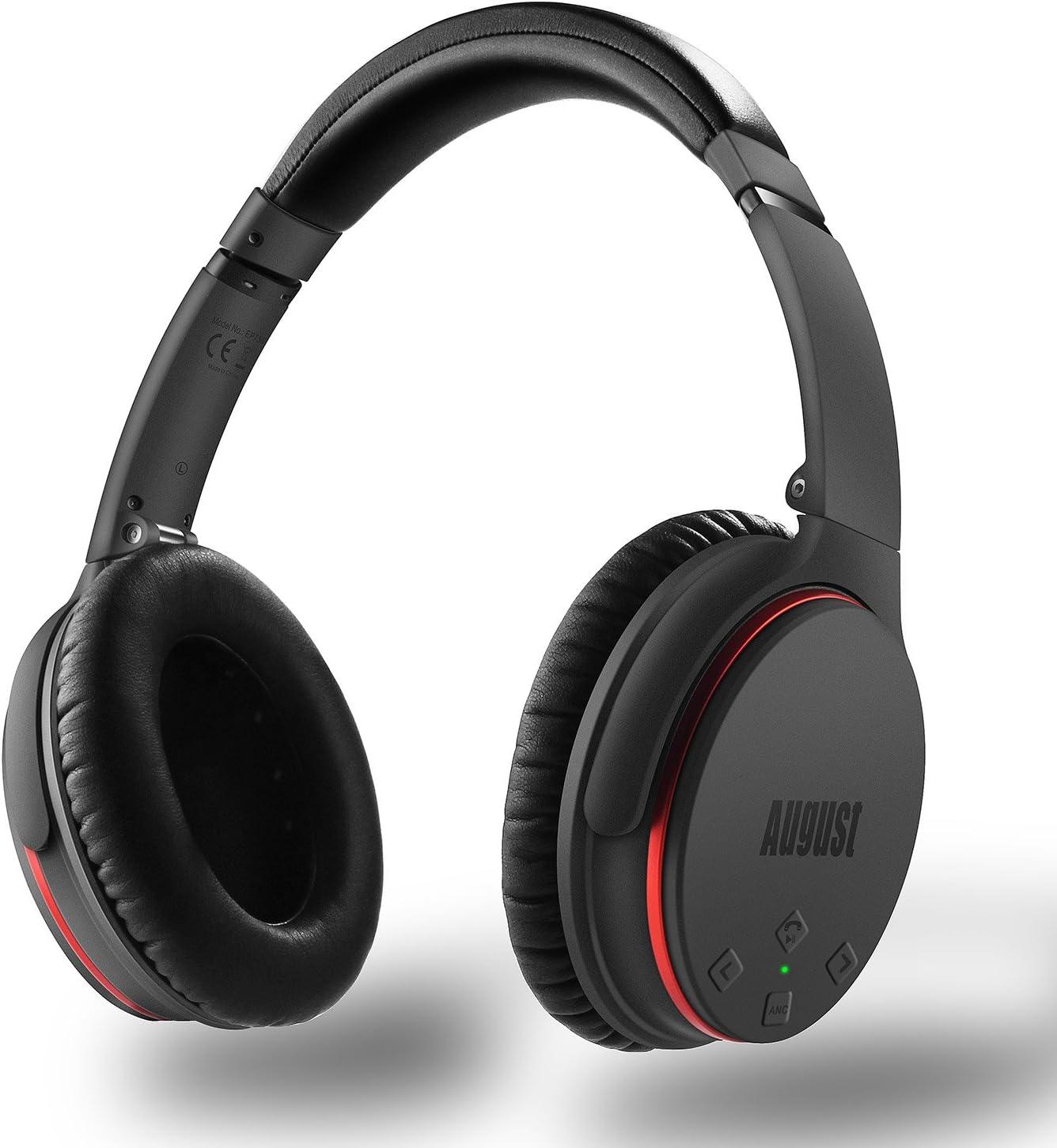August EP735 - Auriculares con Cancelación Activa de Ruido con Bluetooth v4.1, Batería Dura de 18 Horas, con Función de Multipunto