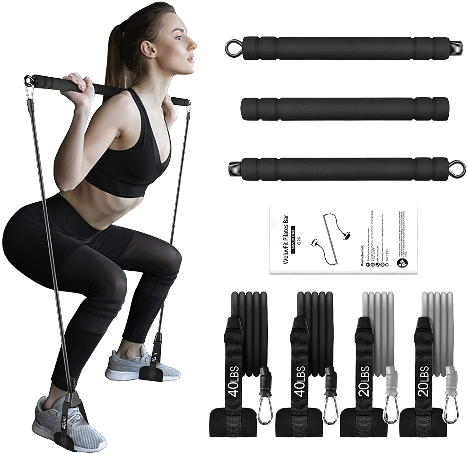 Pilates Bar Kit with Resistance Bands, WeluvFit Portable Exercise Fitness Equipment for Women & Men, Home Gym Workout 3-Section Stick Squat Yoga Pilates Flexbands Kit for Full Body Shaping