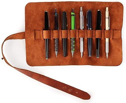 Londo Estuche Enrollable de Piel Genuina para Lápices y Bolígrafos (Marrón): Amazon.es: Oficina y papelería