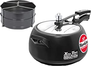 Hawkins Contura Black XT 5 LTR Pressure Cooker with Hard Anodised 2 Pc Separater Cooker Dabba and Stand