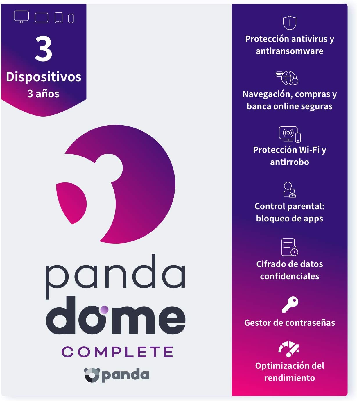 Panda Dome Complete 2021 – Antivirus | 3 Dispositivos | 3 años | VPN | Antiransomware | Control Parental | Banca Segura | Bloqueo Antirrobo | Gestor de Contraseñas | Encriptación de Archivos